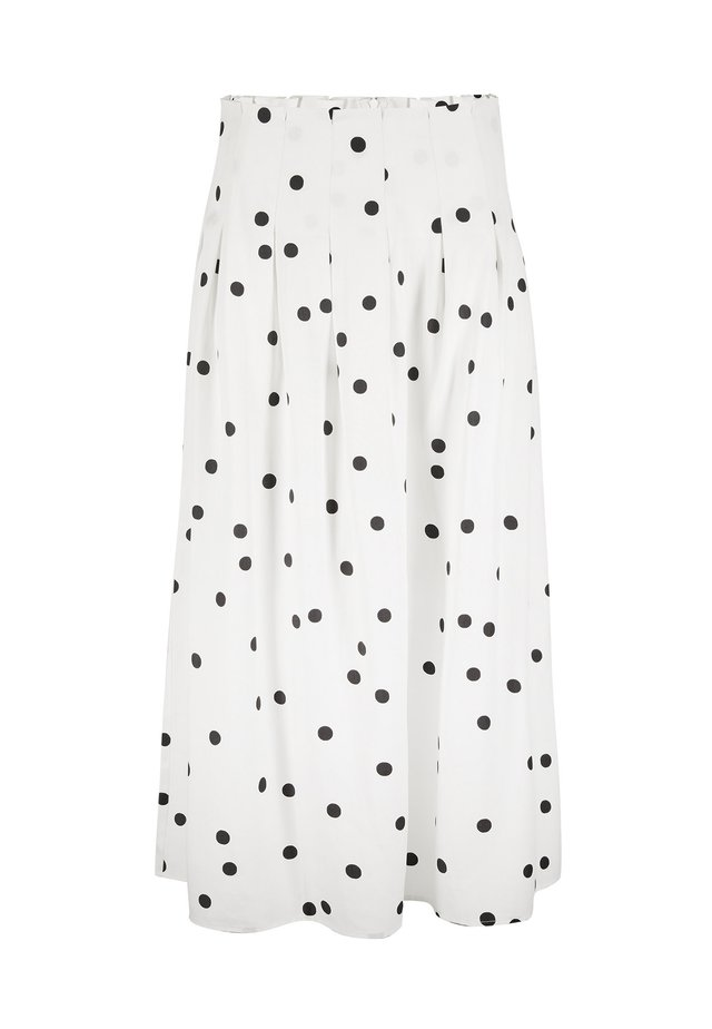 POLKA DOT BLACK & WHITE - A-linjainen hame - white