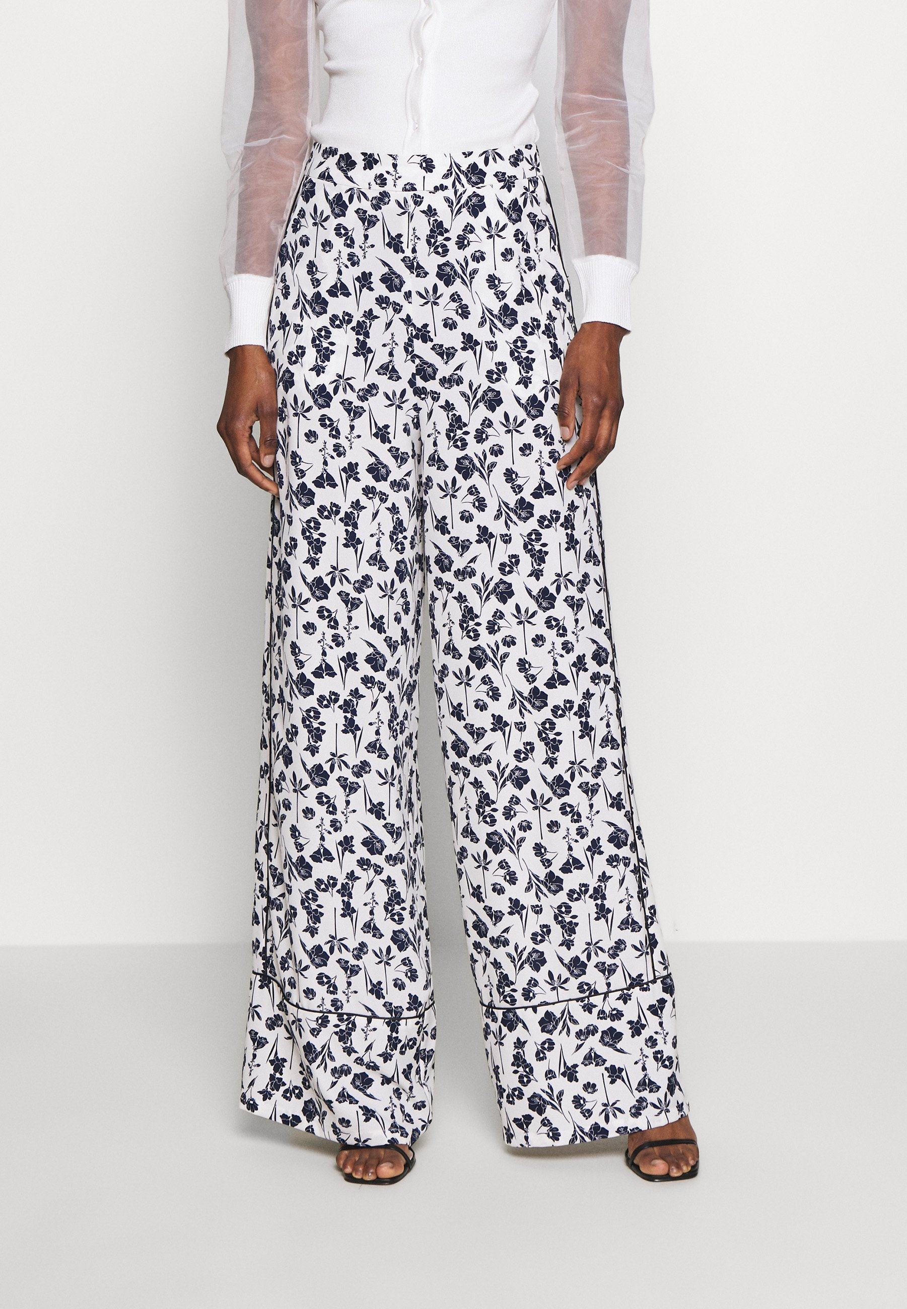 Missguided Tall FLORAL WIDE LEG TROUSERS - Bukse - white