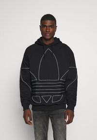 adidas Originals - OUT HOODY - Hoodie - black/white - 0