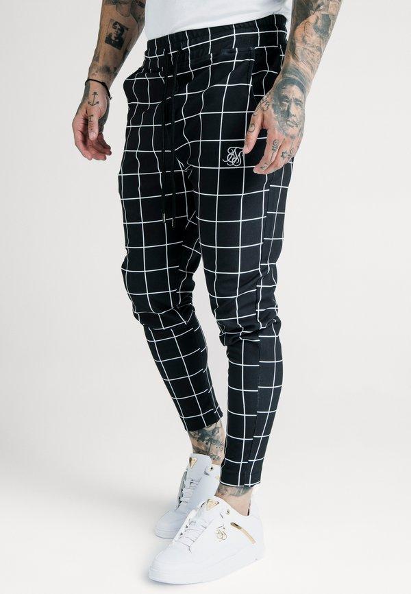SIKSILK SMART JOGGER PANT - Spodnie materiałowe - black/white/czarny Odzież Męska OETG