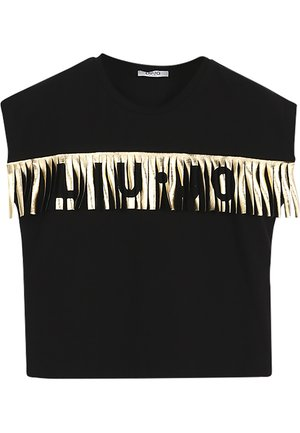 WITH LAMINATED FRINGES - Print T-shirt - black