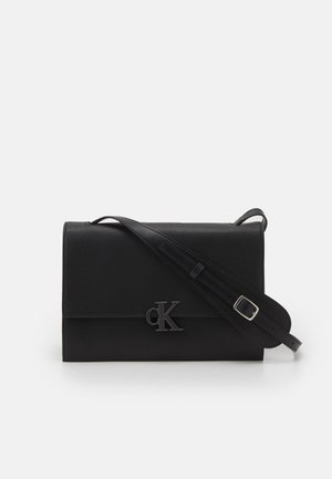 MINIMAL MONOGRAM FLAP XBODY - Across body bag - black