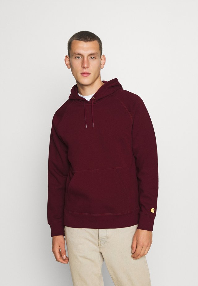 HOODED CHASE  - Hoodie - bordeaux/gold
