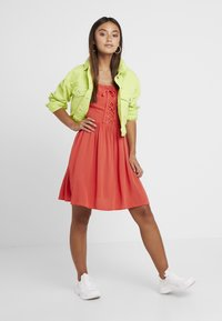 New Look Petite - EYELET LATTICE FRONT MINI - Day dress - red - 1