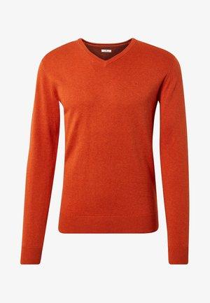 V NECK  - Jumper - autumn orange melange