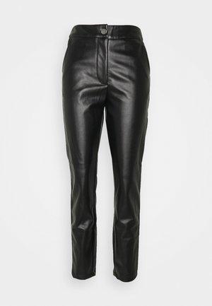 PLEAT FRONT CIGARETTE - Trousers - black