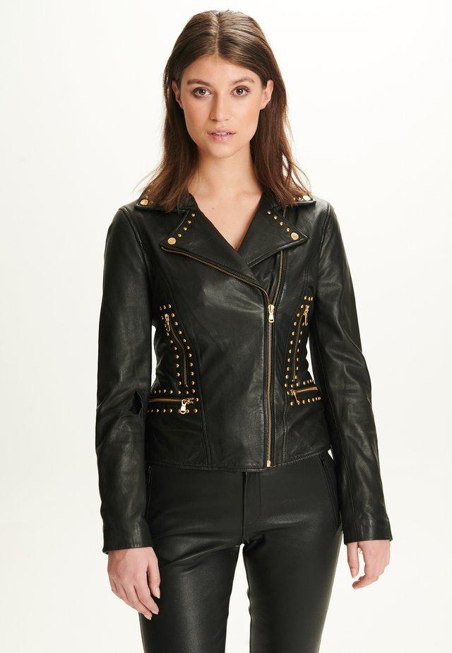 ANNA - Leren jas - black gold