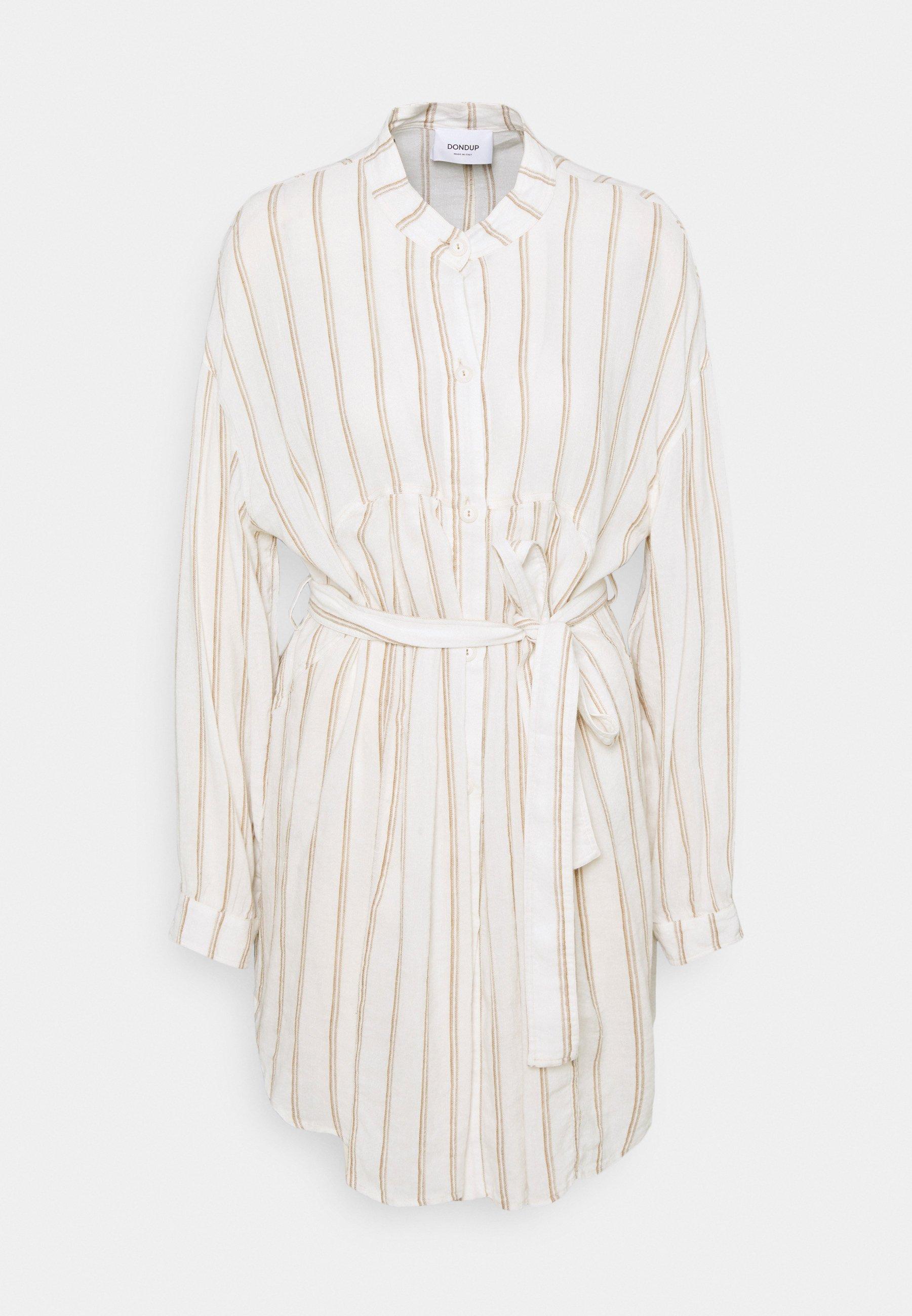 Women STRIPED LINEN DRESS - Shirt dress
