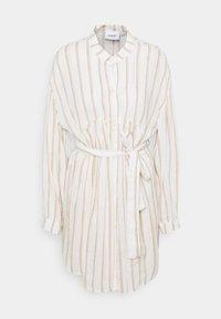 Dondup - STRIPED LINEN DRESS - Shirt dress - beige - 0
