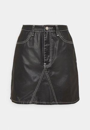 COATED CONTRAST STITCH SKIRT - Mini skirt - black