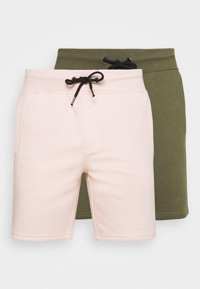 2 PACK - Shorts - olive/pink
