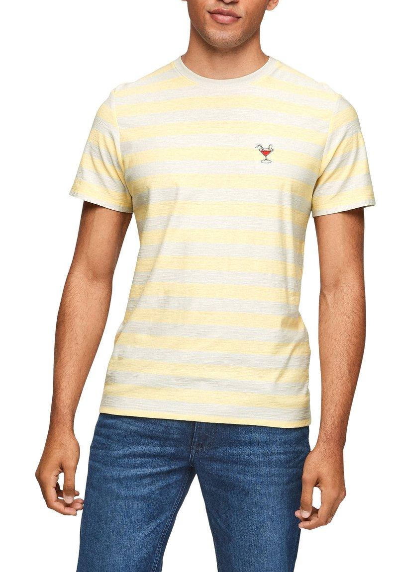 s.Oliver - Print T-shirt - light yellow stripes