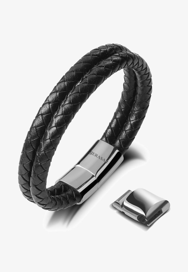LEDER TWO STRIPES - Bracelet - silber