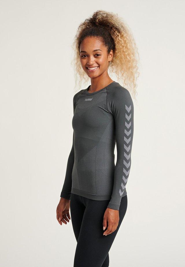 Long sleeved top - dark grey/light grey