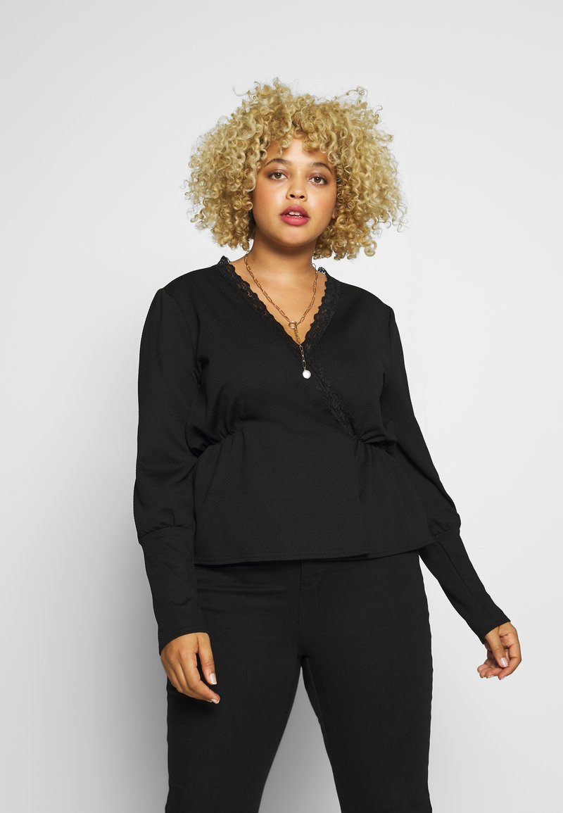 Missguided Plus - TEXTURED PEPLUM TOP WITH PUFF SLEEVES - Long sleeved top - black
