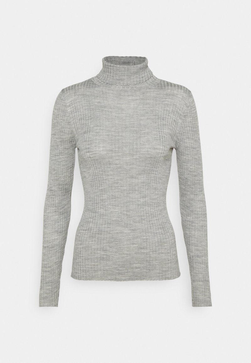 Selected Femme Tall - SLFCOSTINA ROLLNECK - Jumper - light grey melange