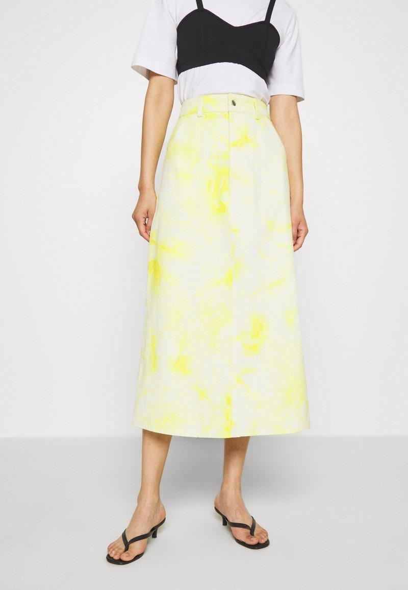HOSBJERG - RINA TIE DYE SKIRT - A-line skirt - yellow/white