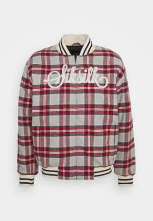 CHECK - Bomber Jacket - grey/red