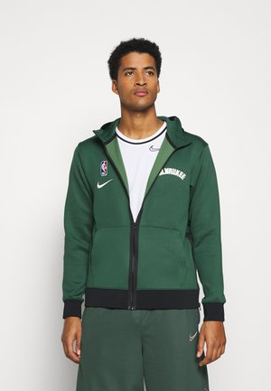 NBA MILWAUKEE BUCKS THERMAFLEX SHOWTIME FULL ZIP HOODIE - Training jacket - fir/black/white