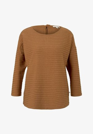LOOSE STRUCTURED STRIPE TEE - Longsleeve - amber brown structure stripe
