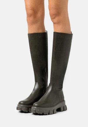 PROFILE SHAFT BOOTS - Platform boots - khaki