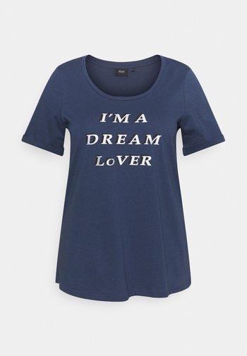 BOXY TEE WITH FOLD UP - Camiseta estampada - mood indigo