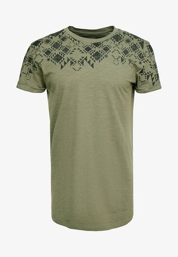 T-shirt med print - dusty olive green