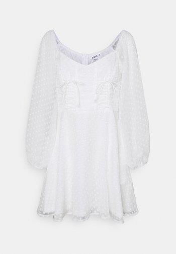 DOBBY CORSET LONG SLEEVE DRESS - Day dress - white