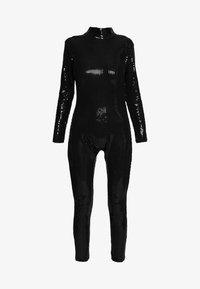 Jaded London - LONG SLEEVE LUREX CATSUIT WITH THONG BACK DETAIL - Jumpsuit - black - 4