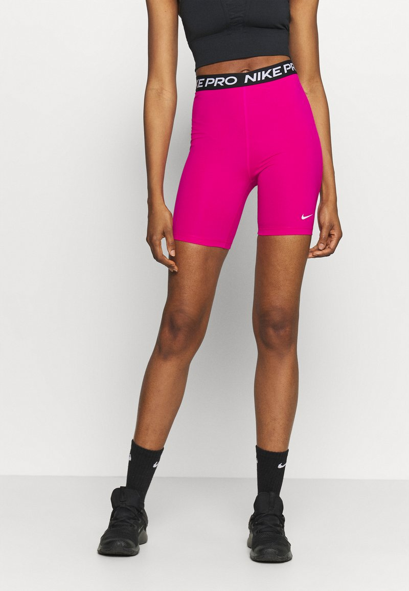 Nike Performance - SHORT HI RISE - Legginsy - fireberry/black/white