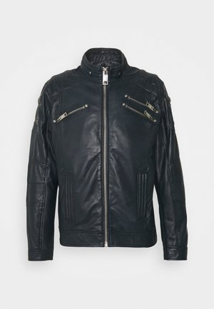 BIKER JACKET - Leather jacket - navy