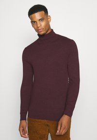 Burton Menswear London - FINE GAUGE ROLL  - Jumper - burgundy - 0