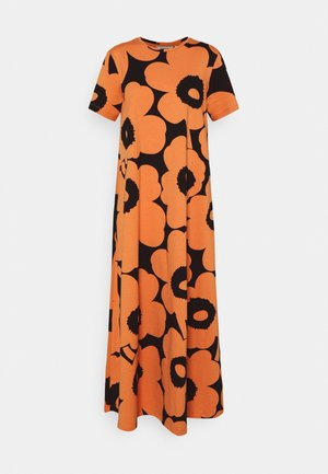 KALLIOKIELO UNIKKO DRESS - Vestito di maglina - black/dark orange