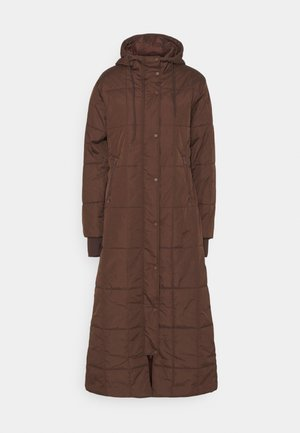 QUILTED PUFFER LONG COAT - Winter coat - brown