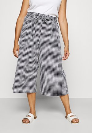 GINGHAM CULOTTES - Trousers - black