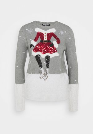 CHRISTMAS MRS CLAUS ICE SKATING - Strikpullover /Striktrøjer - grey