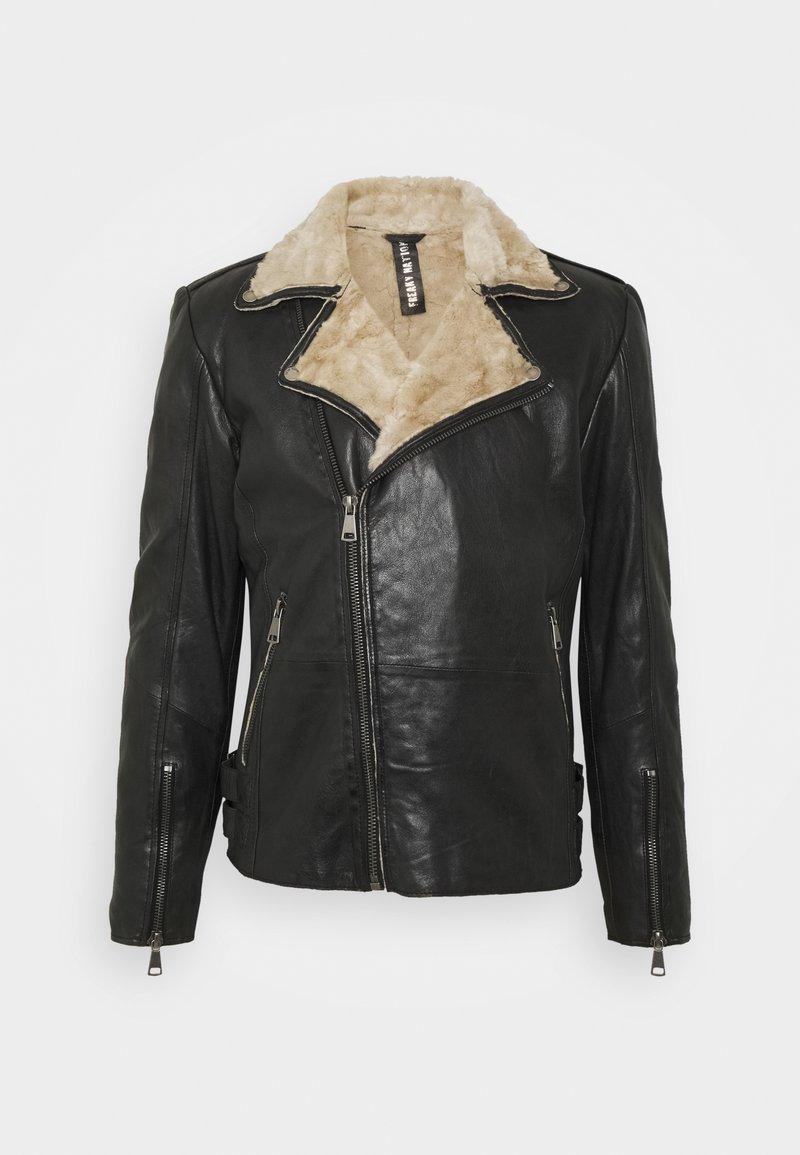 Freaky Nation - BJÖRN - Leather jacket - black/beige