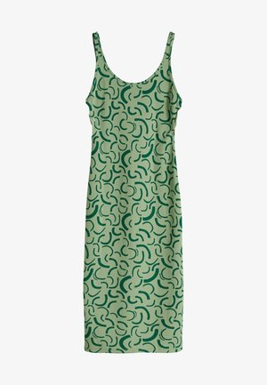 MIT NECKHOLDER, JACQUARDMUSTER UND RINGEN AN DEN SEITE - Denní šaty - green