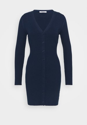 LOW FRONT MINI DRESS WITH LONG SLEEVES - Abito in maglia - navy