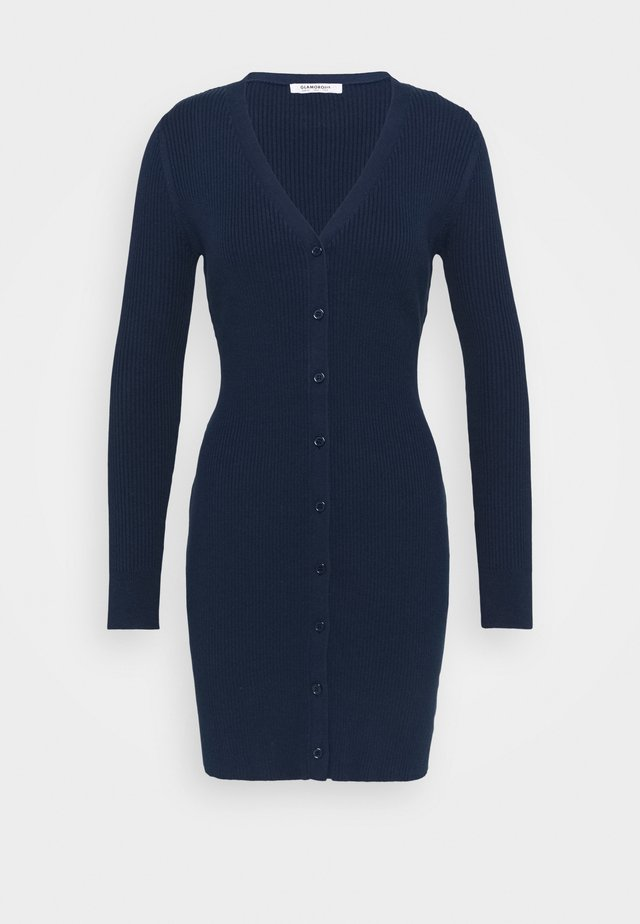 LOW FRONT MINI DRESS WITH LONG SLEEVES - Strikkjoler - navy