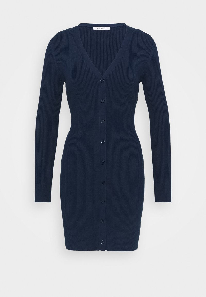 Glamorous - LOW FRONT MINI DRESS WITH LONG SLEEVES - Jumper dress - navy