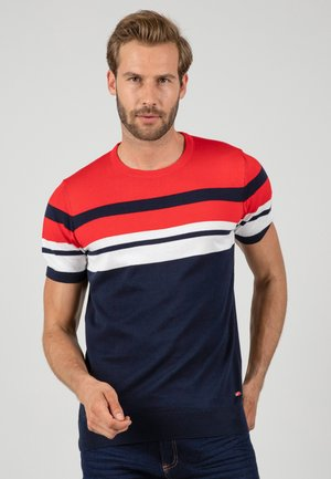 T-shirt med print - navy\red