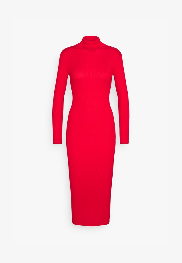 ROLL NECK  MIDI DRESS - Etui-jurk - red