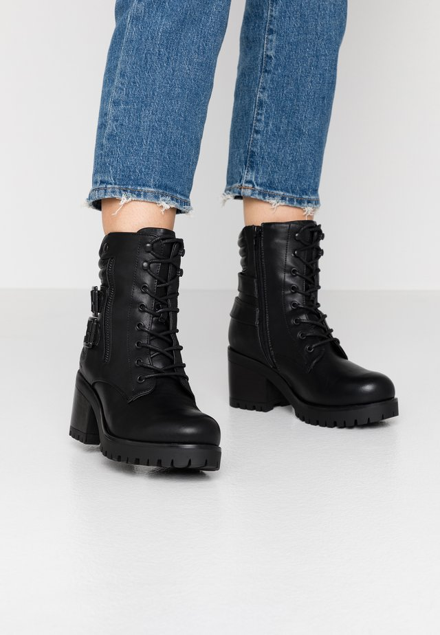 Lace-up ankle boots - schwarz/dunkelgrau