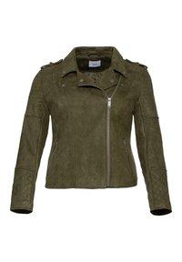 Sheego - Faux leather jacket - dunkelkhaki - 5