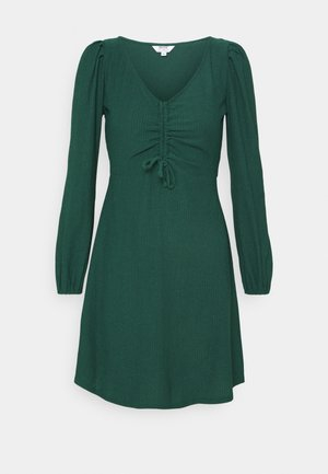 RUCHED FRONT FAUCHETTE MINI DRESS - Kjole - forest green
