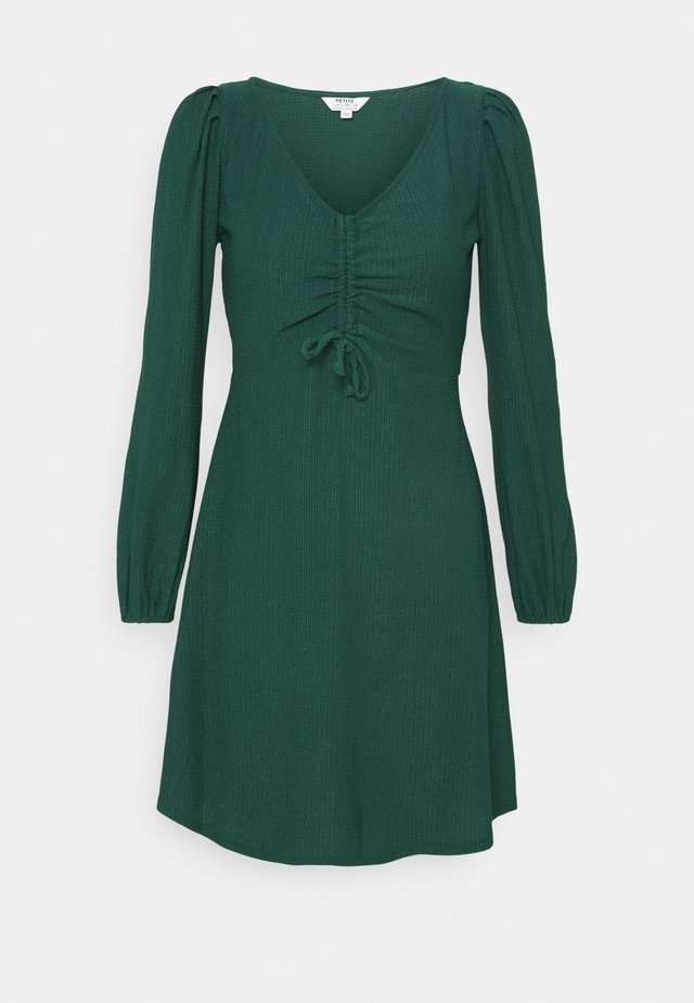 RUCHED FRONT FAUCHETTE MINI DRESS - Sukienka letnia - forest green