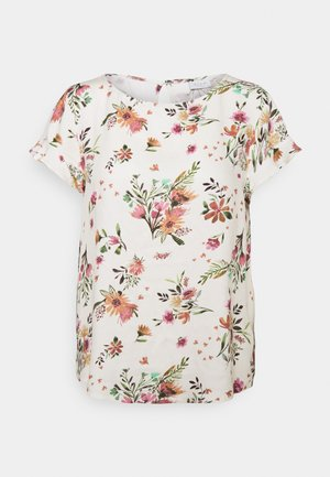 VIBILLY FLOWER - Print T-shirt - cloud dancer/red