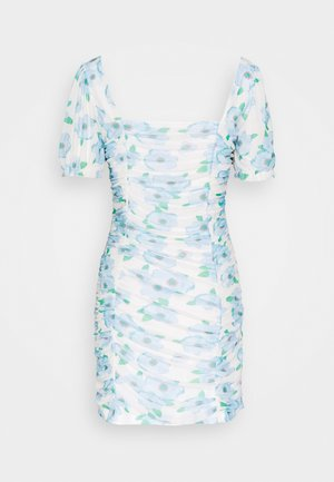FLORAL RUCHED MINI DRESS - Freizeitkleid - white/blue