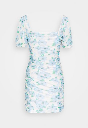 FLORAL RUCHED MINI DRESS - Day dress - white/blue